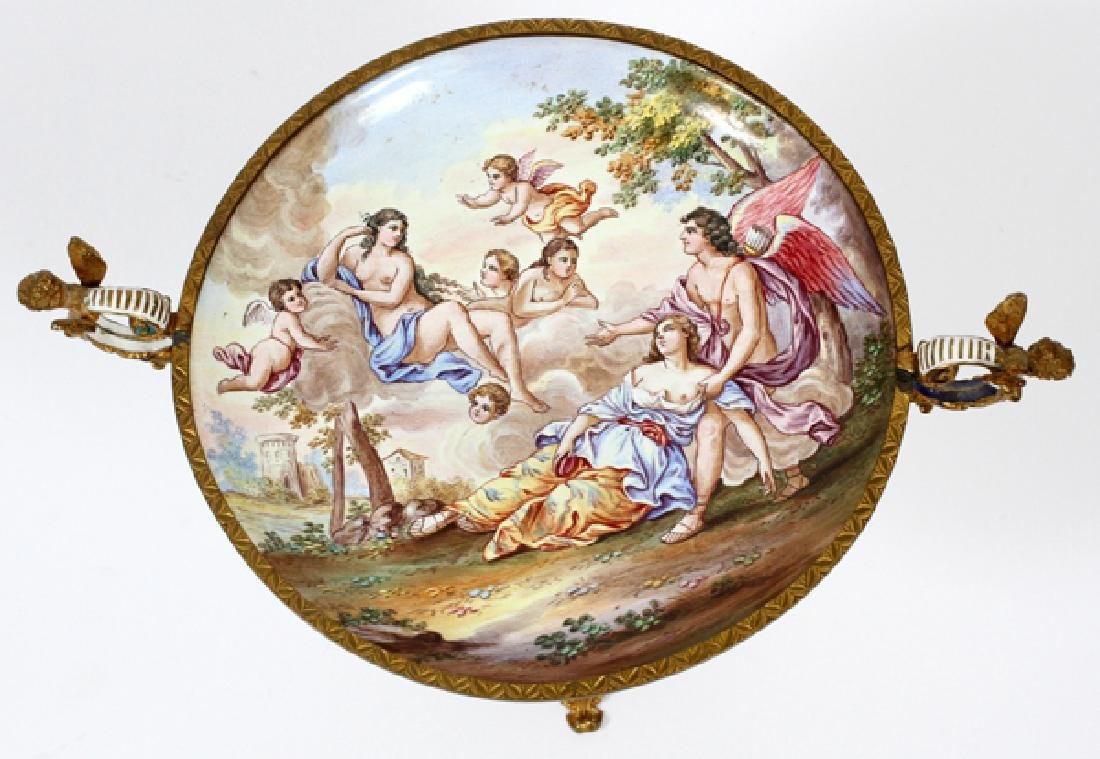 CONTINENTAL HAND PAINTED PORCELAIN TAZZA - 2