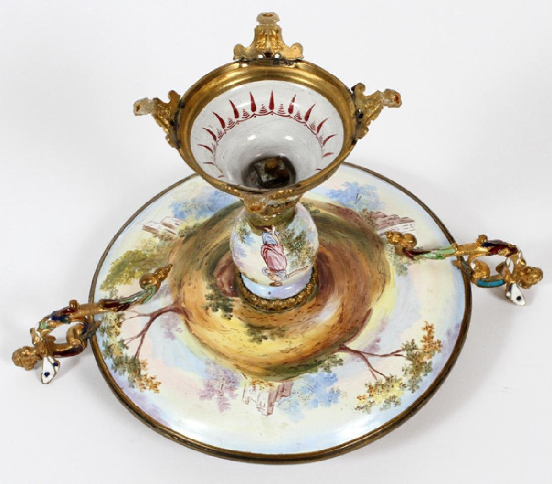CONTINENTAL HAND PAINTED PORCELAIN TAZZA - 3