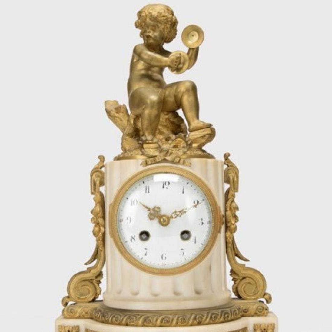 LOUIS XVI STYLE GILT BRONZE MOUNTED MANTEL CLOCK