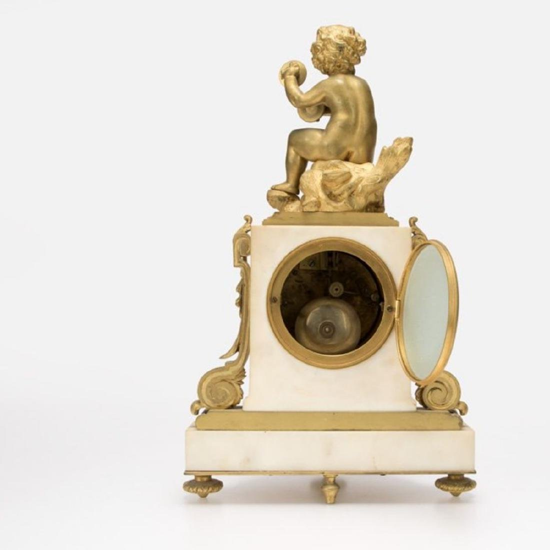 LOUIS XVI STYLE GILT BRONZE MOUNTED MANTEL CLOCK - 3