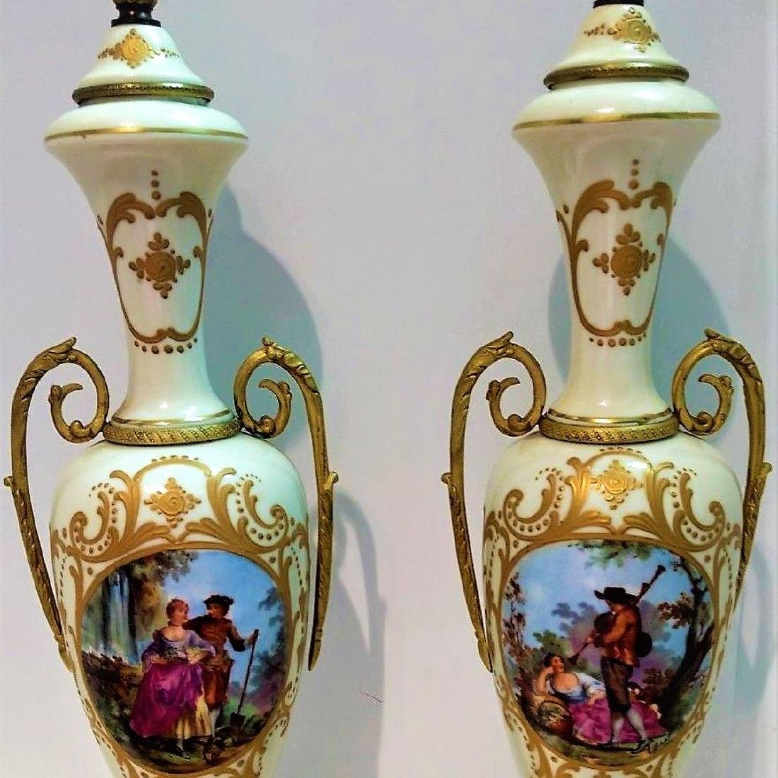 Pair of Hand Signed Painted French Sevres Porcelain
