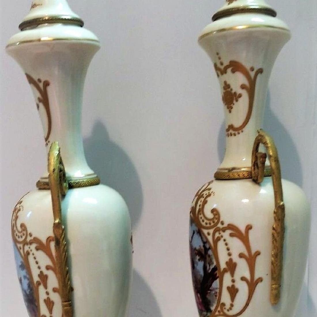 Pair of Hand Signed Painted French Sevres Porcelain - 5