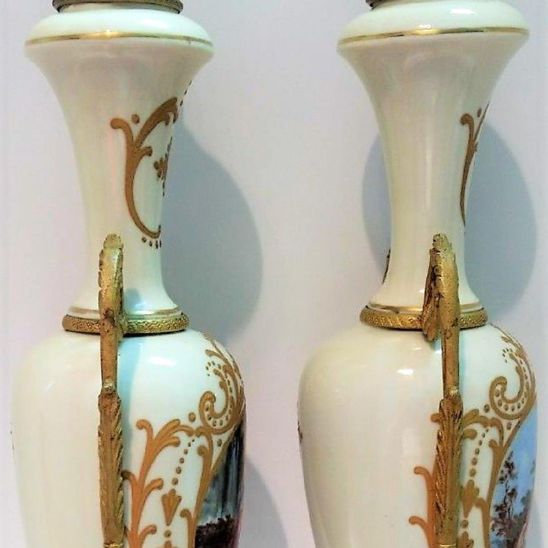 Pair of Hand Signed Painted French Sevres Porcelain - 6