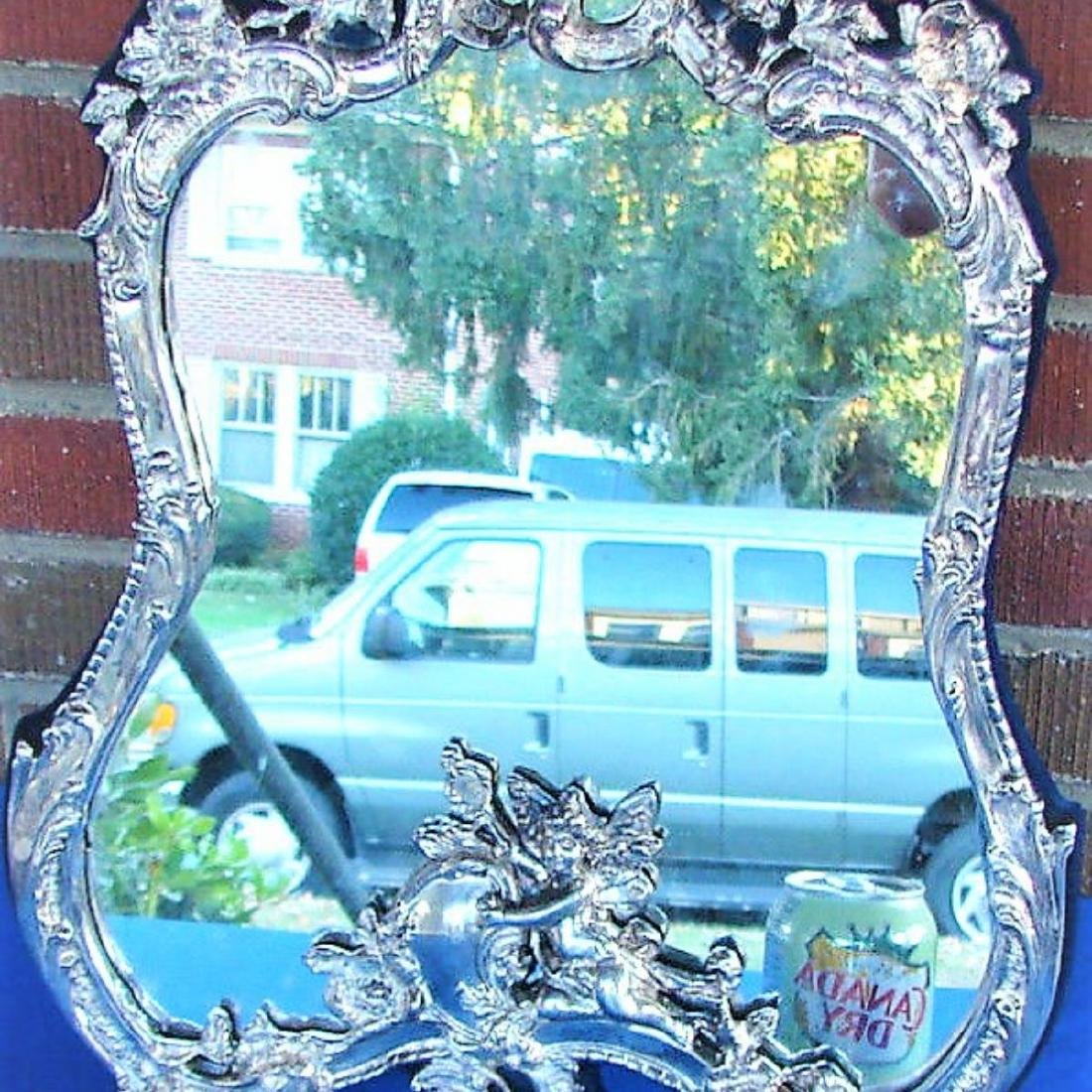 STERLING SILVER CHERUB PUTTI FRAME MIRROR SIGNED BY JR