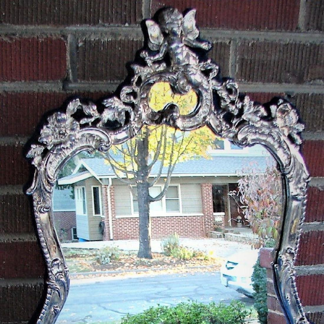 STERLING SILVER CHERUB PUTTI FRAME MIRROR SIGNED BY JR - 2