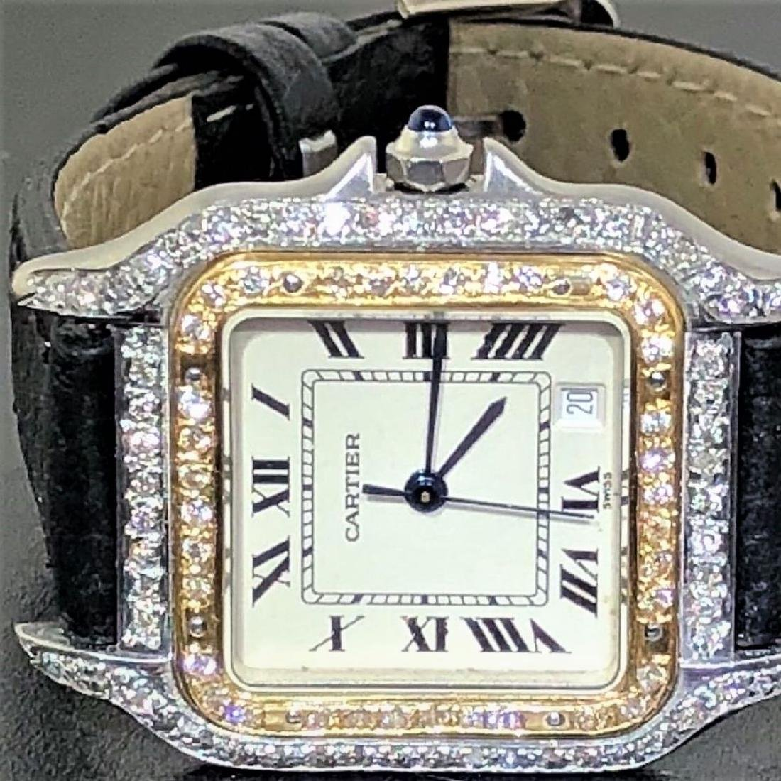 SS PANTHERE UNISEX TWO-TONE MENS MIDSIZE DIAMONDS 18K