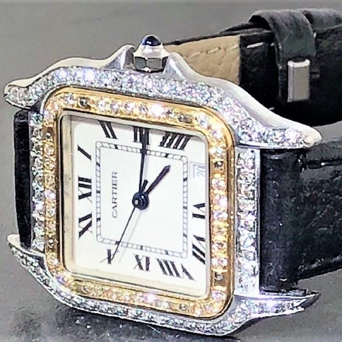SS PANTHERE UNISEX TWO-TONE MENS MIDSIZE DIAMONDS 18K - 2