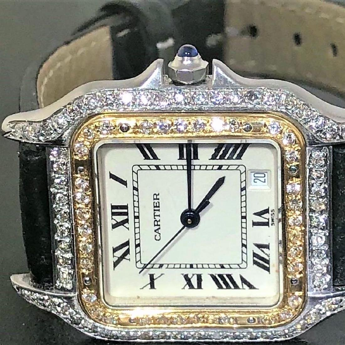 SS PANTHERE UNISEX TWO-TONE MENS MIDSIZE DIAMONDS 18K - 8