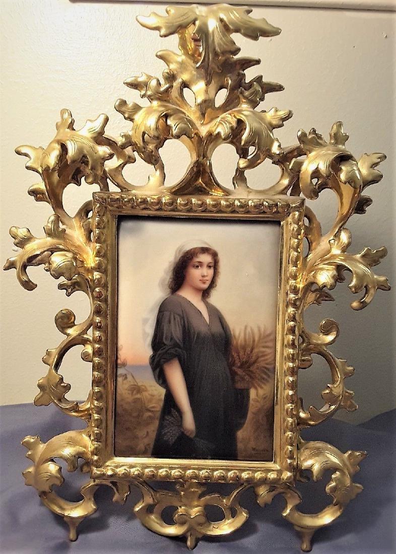Antique 19c KPM RUTH Portrait Porcelain Plaque with