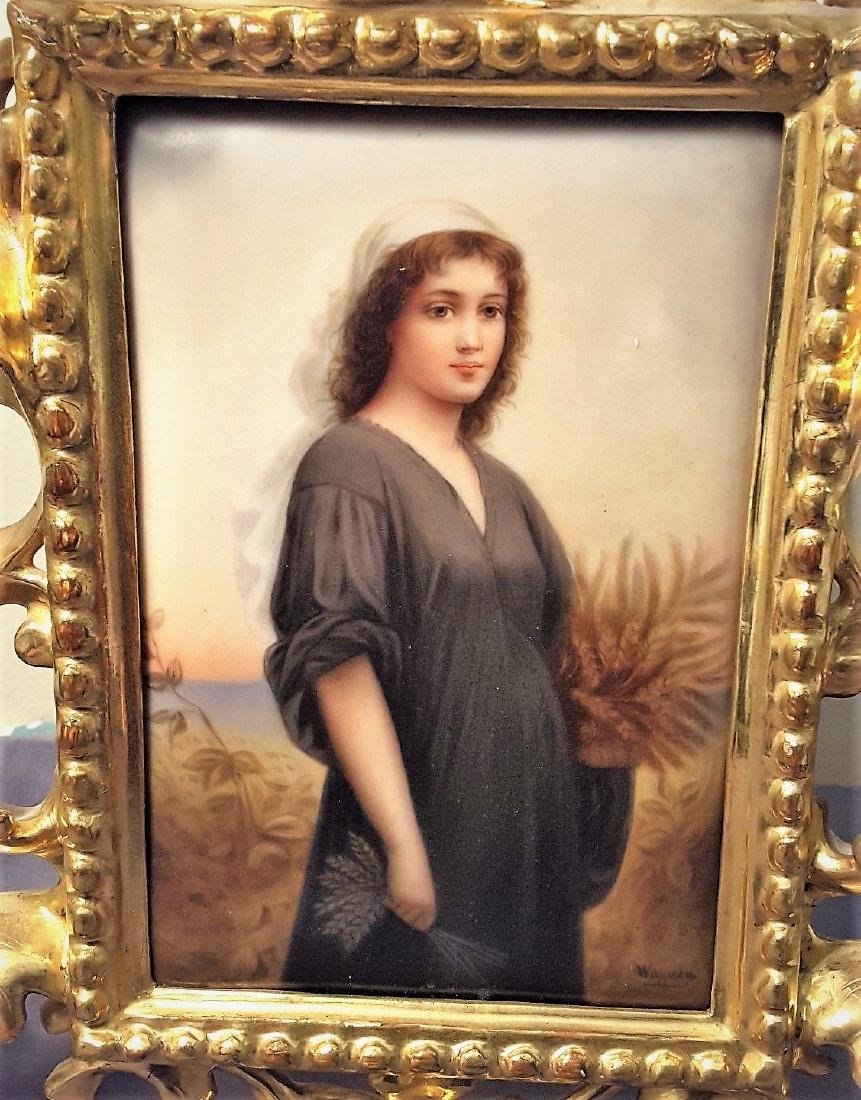 Antique 19c KPM RUTH Portrait Porcelain Plaque with - 2