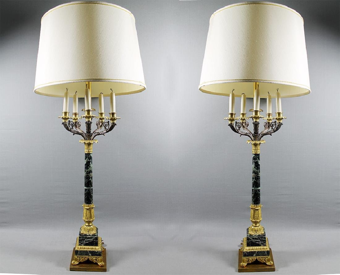 """PAIR OF FRENCH MARBLE AND BRONZE CANDELABRA LAMPS 43"""" X"""