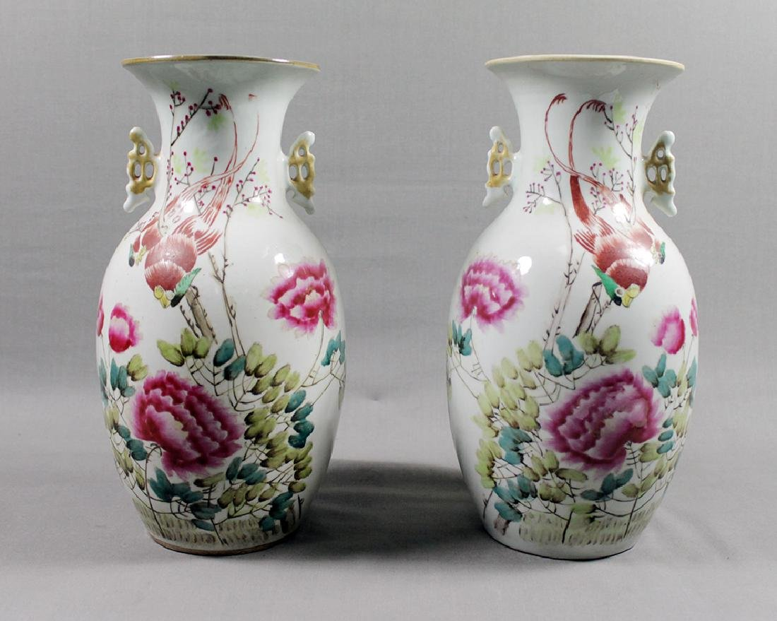 PAIR OF CHINESE FLORAL VASES