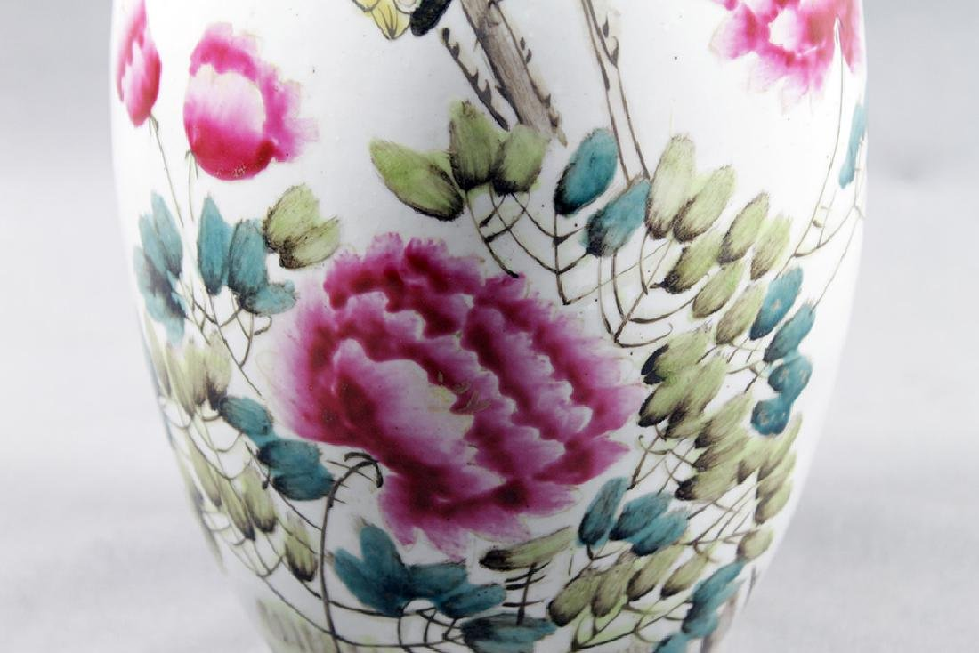 PAIR OF CHINESE FLORAL VASES - 8