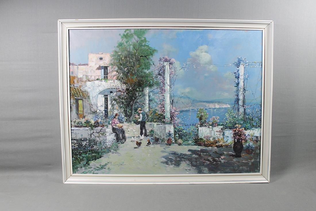 oil on canvas coastal cityscape