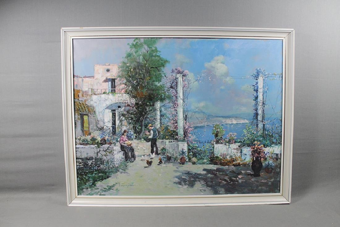 oil on canvas coastal cityscape - 6
