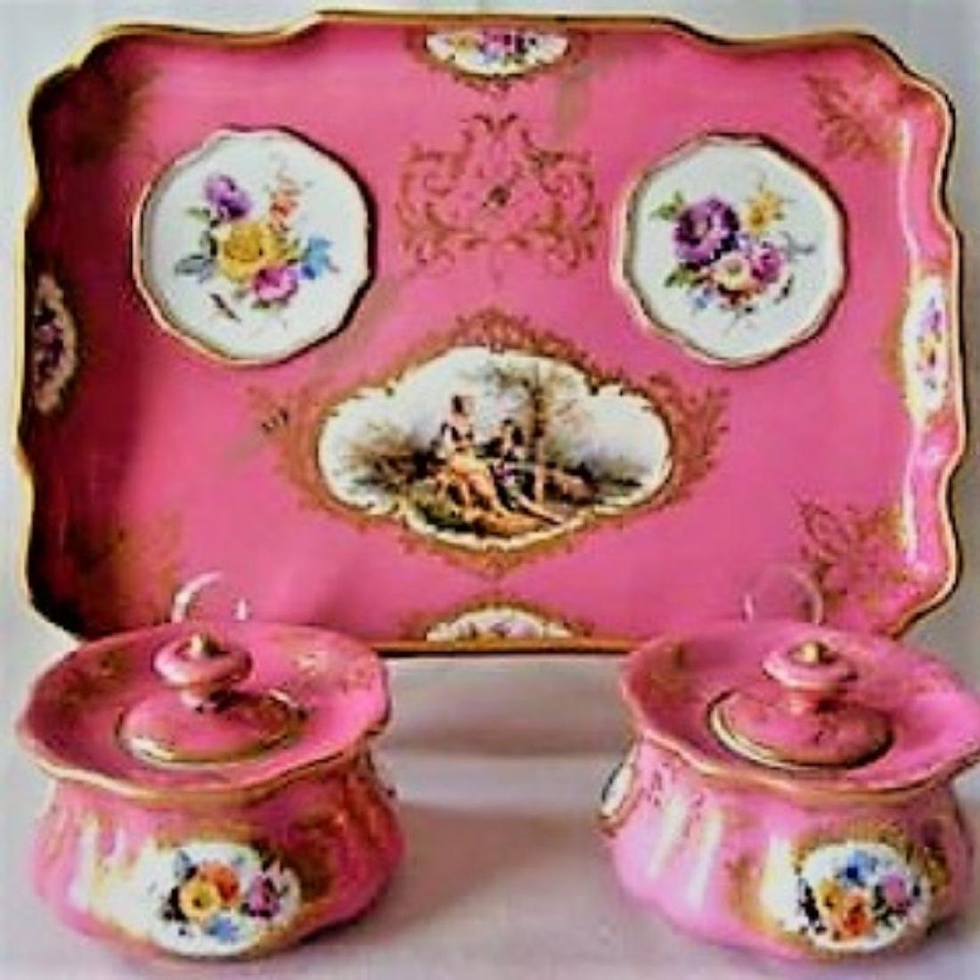 ANTIQUE MEISSEN DRESSER TRAY & JARS SET, PINK WATTEAU,