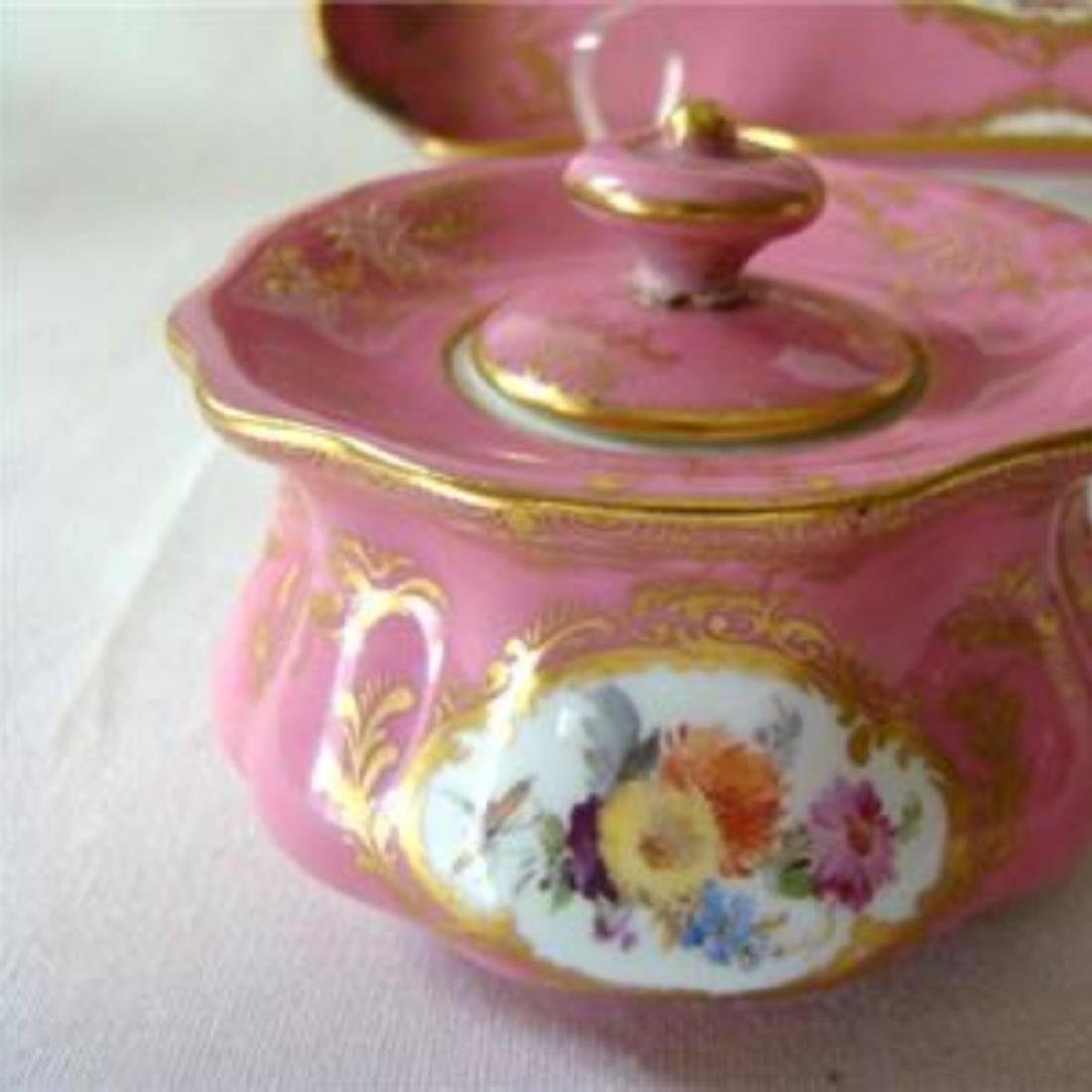 ANTIQUE MEISSEN DRESSER TRAY & JARS SET, PINK WATTEAU, - 3