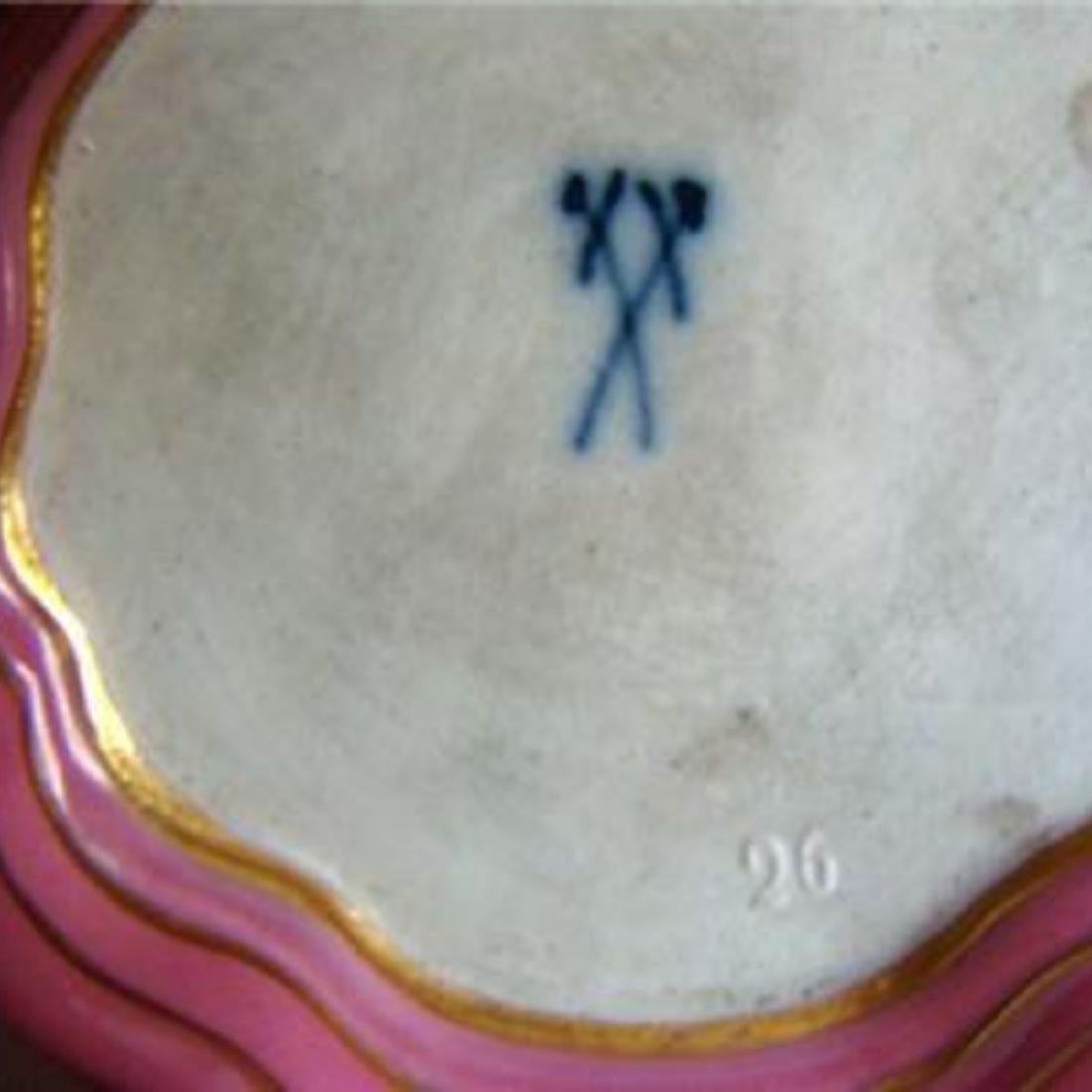 ANTIQUE MEISSEN DRESSER TRAY & JARS SET, PINK WATTEAU, - 6