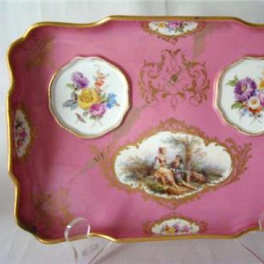 ANTIQUE MEISSEN DRESSER TRAY & JARS SET, PINK WATTEAU, - 7