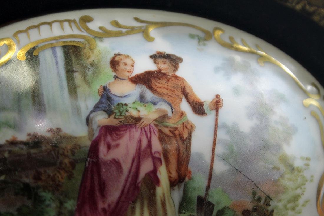 A hand painted porcelain plaque signed in gold wood - 2