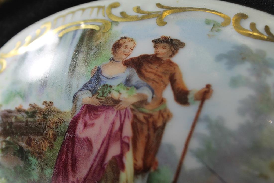 A hand painted porcelain plaque signed in gold wood - 3