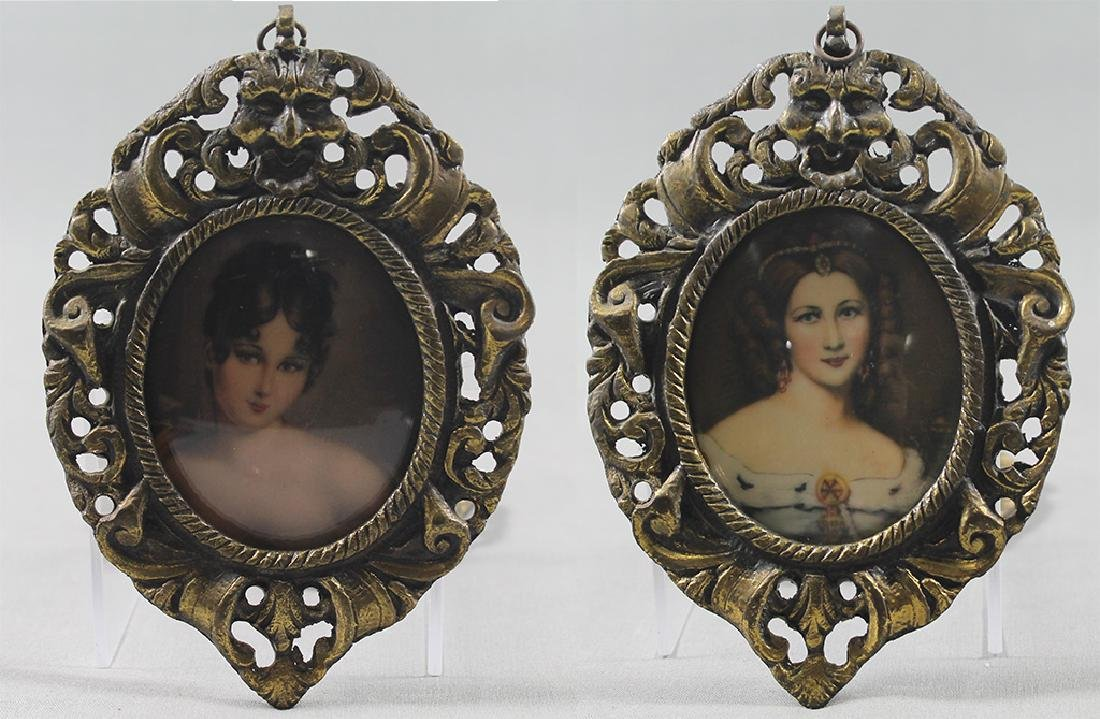 Pair of Victorian woman portraits in miniature brass