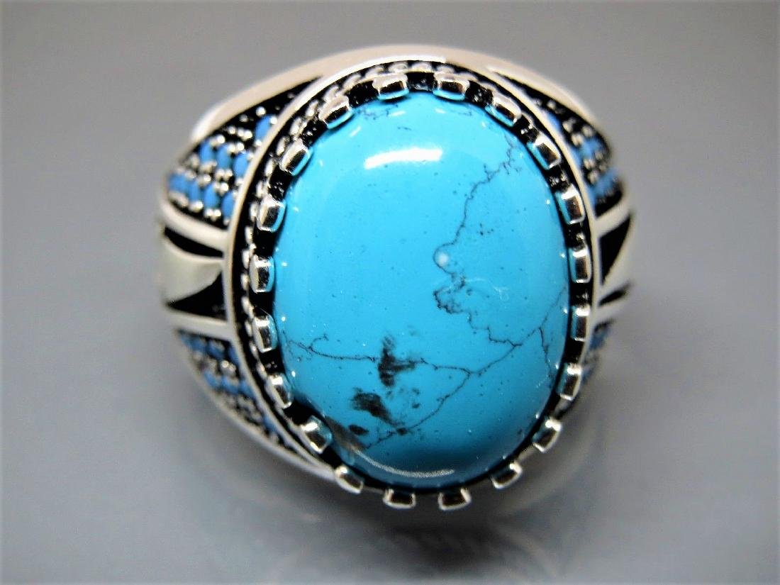 TURKISH HANDMADE JEWELRY 925 STERLING SILVER TURQUOISE - 2