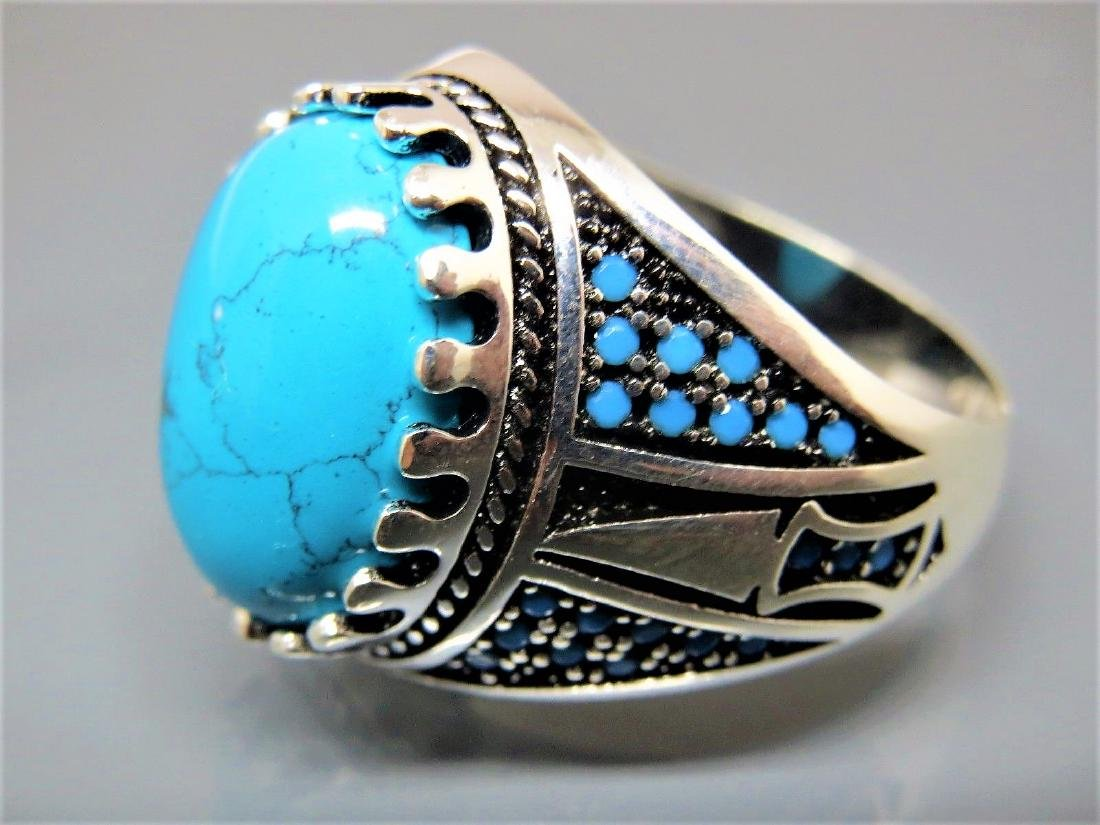 TURKISH HANDMADE JEWELRY 925 STERLING SILVER TURQUOISE - 3