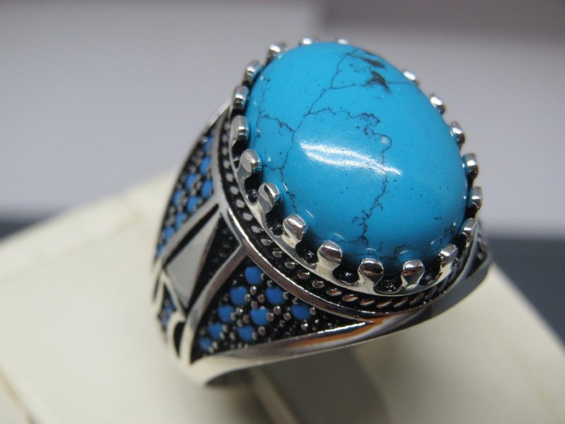TURKISH HANDMADE JEWELRY 925 STERLING SILVER TURQUOISE - 4