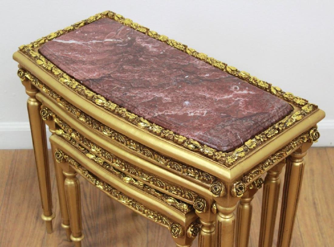 3 Marble & Gold Leaf Nesting Tables - 2