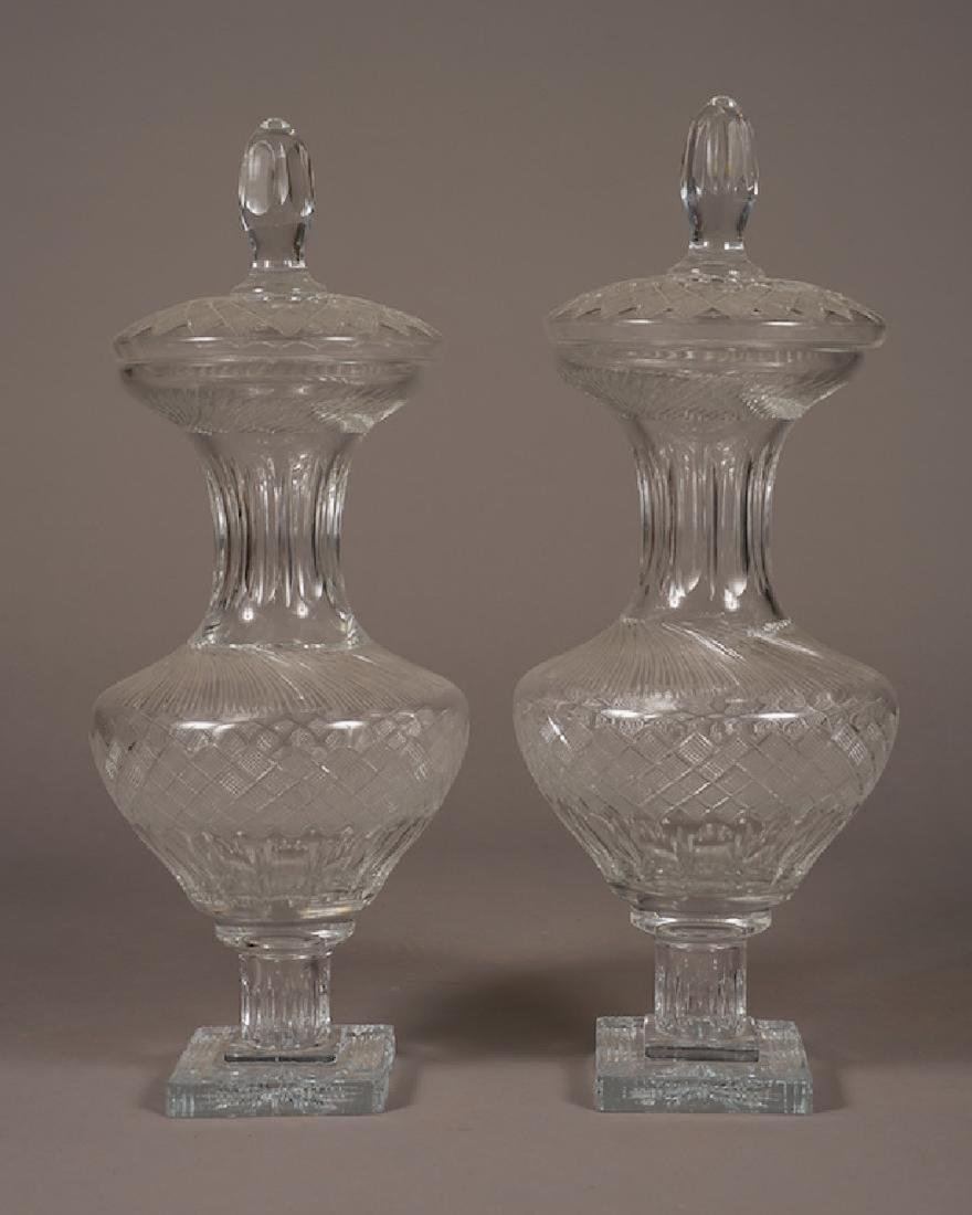 Pair Of Large Crystal Glass Lidded Vases