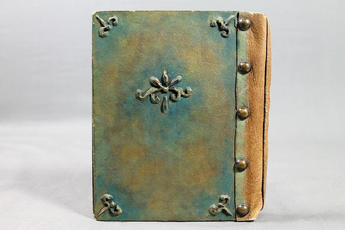 ANTIQUE PAPIER MACHE LEATHER STUDDED BOOK BINDING