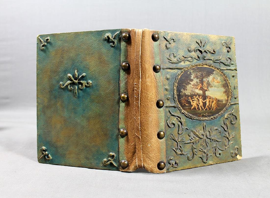 ANTIQUE PAPIER MACHE LEATHER STUDDED BOOK BINDING - 2