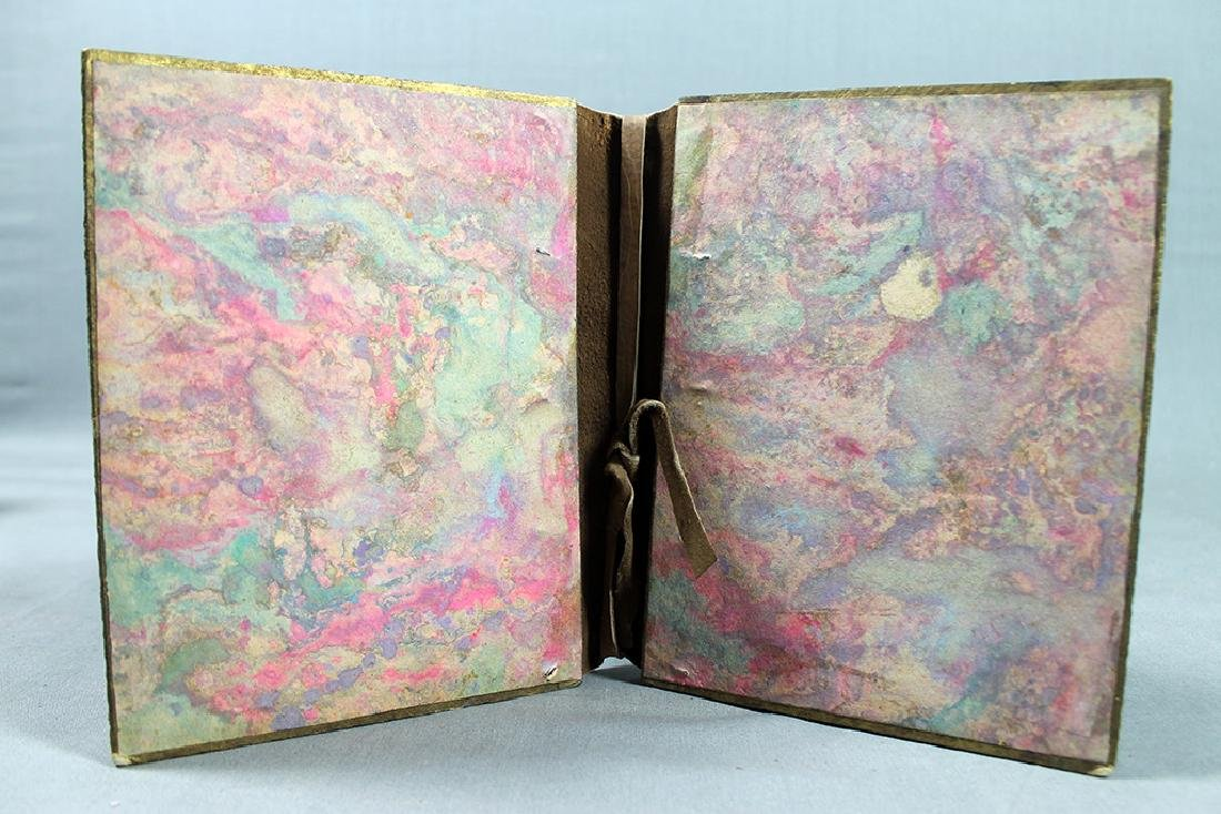 ANTIQUE PAPIER MACHE LEATHER STUDDED BOOK BINDING - 3