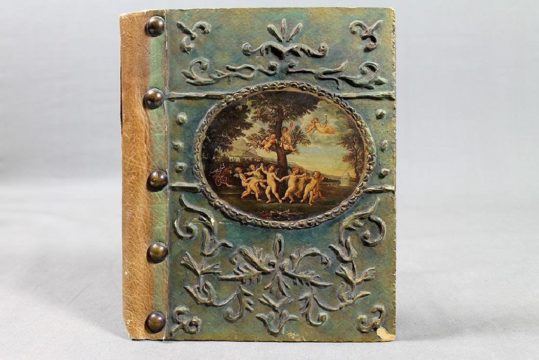 ANTIQUE PAPIER MACHE LEATHER STUDDED BOOK BINDING - 4