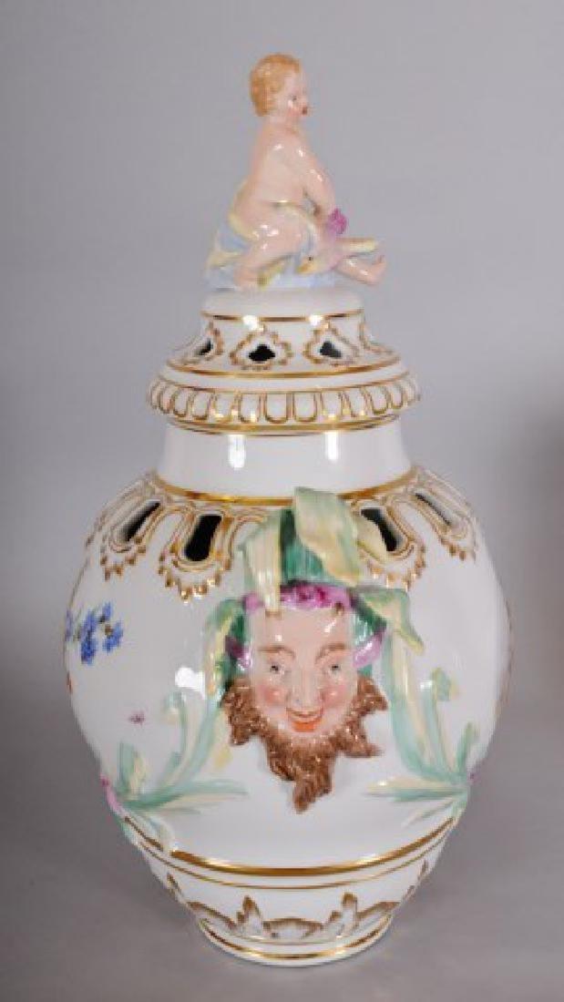 KPM Porcelain Covered Urn w/ Jester Masks - 2
