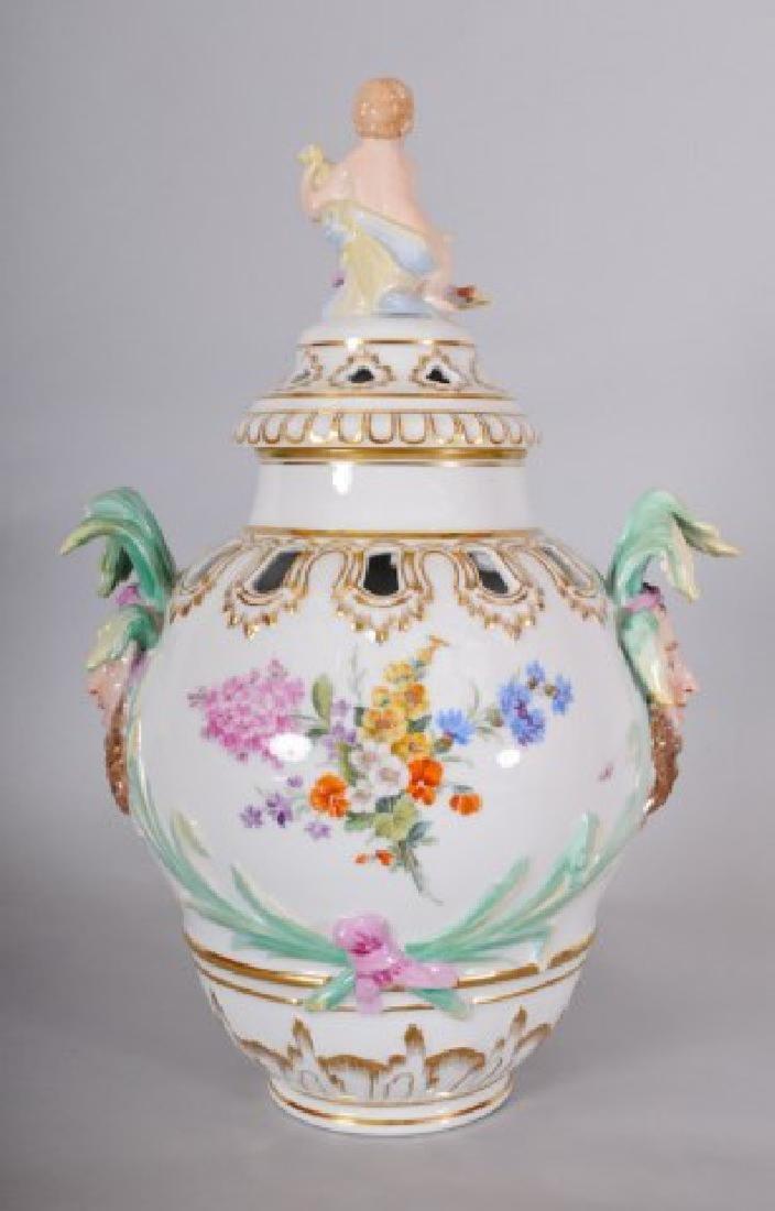 KPM Porcelain Covered Urn w/ Jester Masks - 3