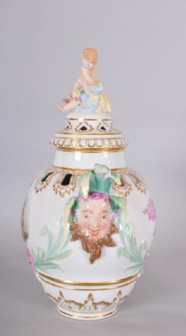 KPM Porcelain Covered Urn w/ Jester Masks - 4