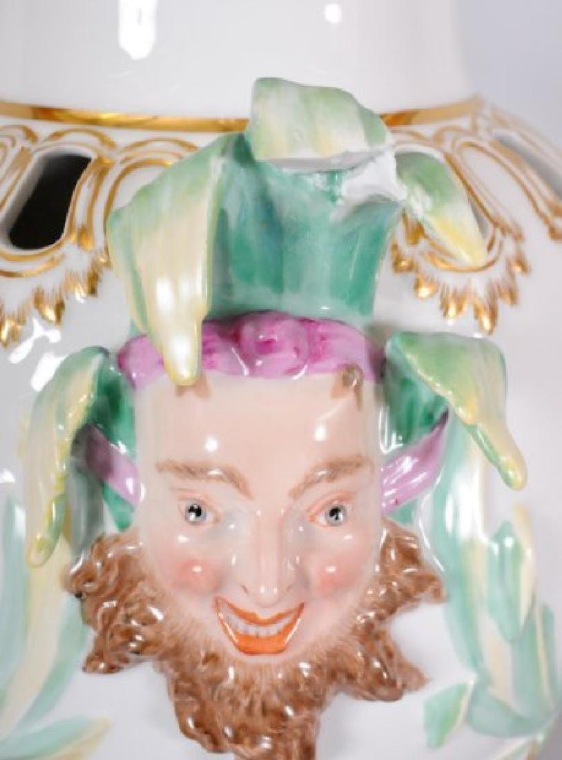 KPM Porcelain Covered Urn w/ Jester Masks - 5