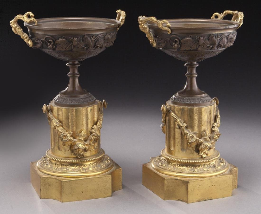Pr. gilt and patinated bronze tazza