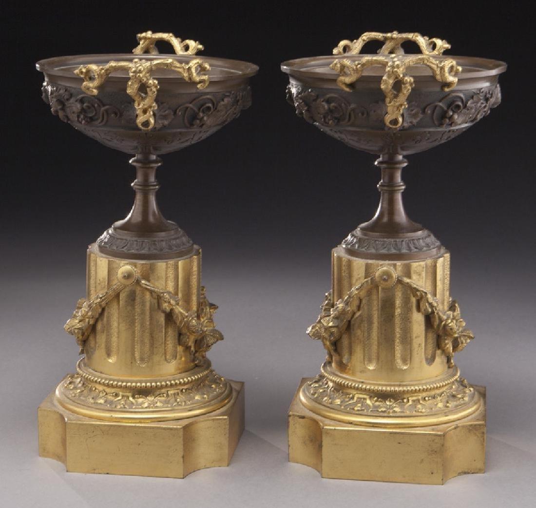 Pr. gilt and patinated bronze tazza - 2