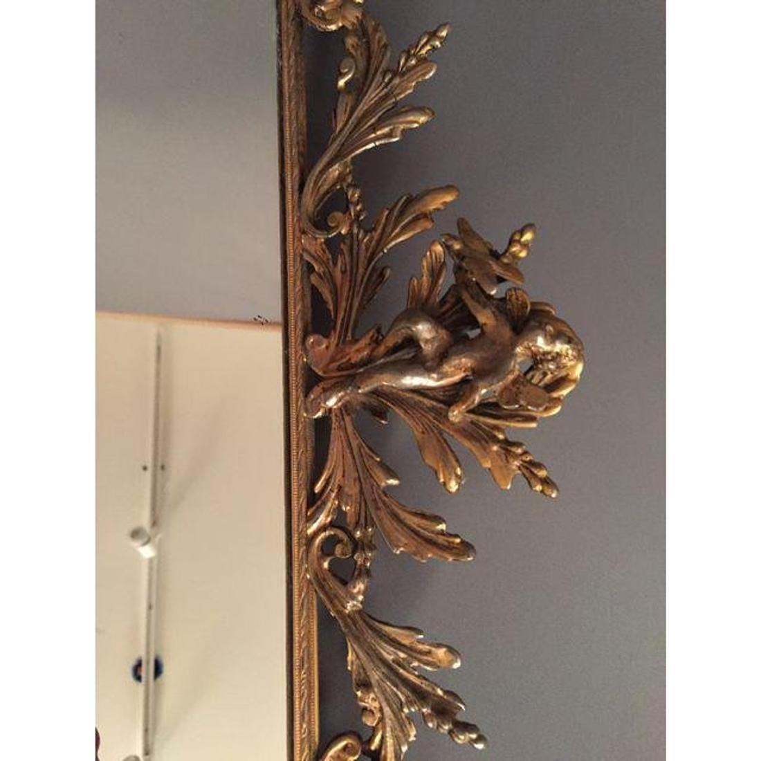 Antique French Mirror Brass Tray - 3