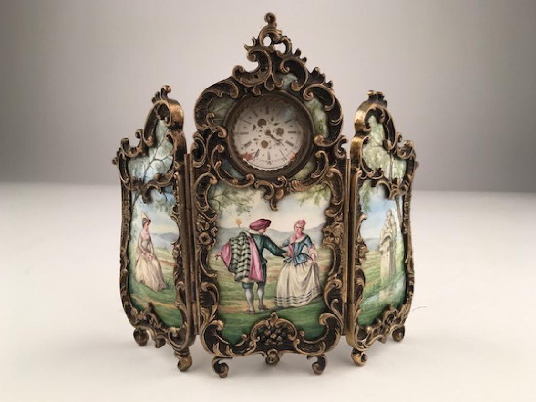 Antique French enamel three hindged screen