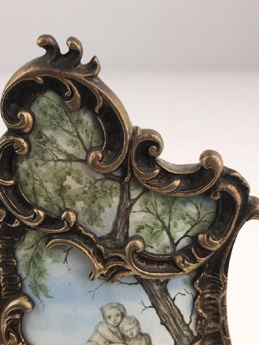 Antique French enamel three hindged screen - 5