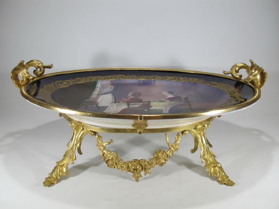 Antique French Sevres porcelain & gilt bronze tray