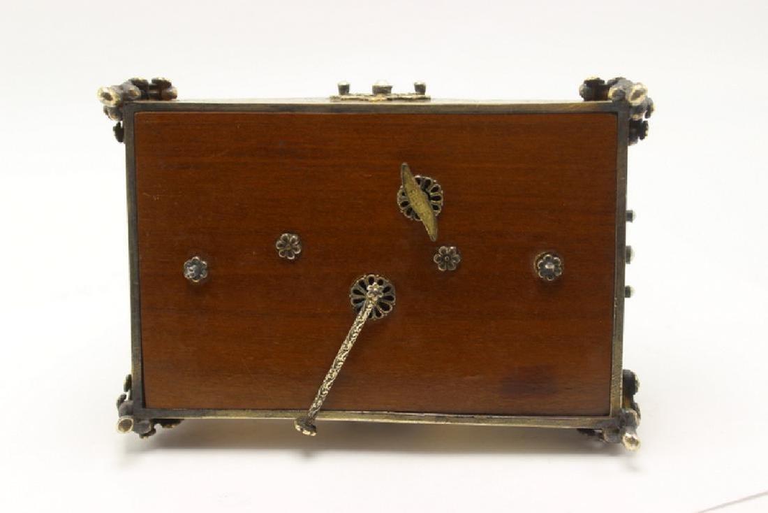 Gold Gilt, Silver Swiss Reuge Music Box Enamel Clock - 3