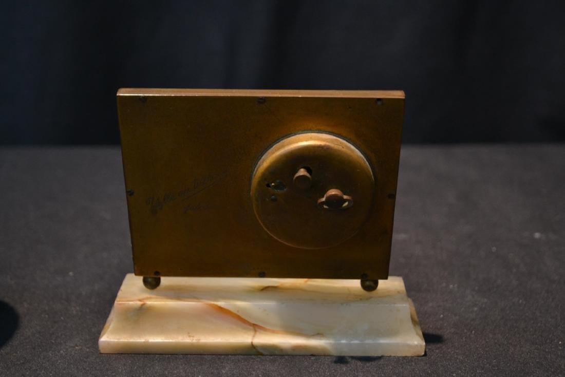 SWISS BRONZE & CELLULOID ON ONYX MINIATURE CLOCK - 4