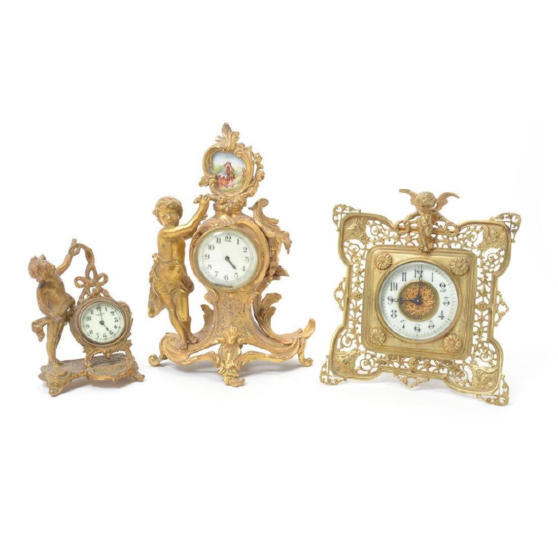 Three Louis XV Style Figural Clocks