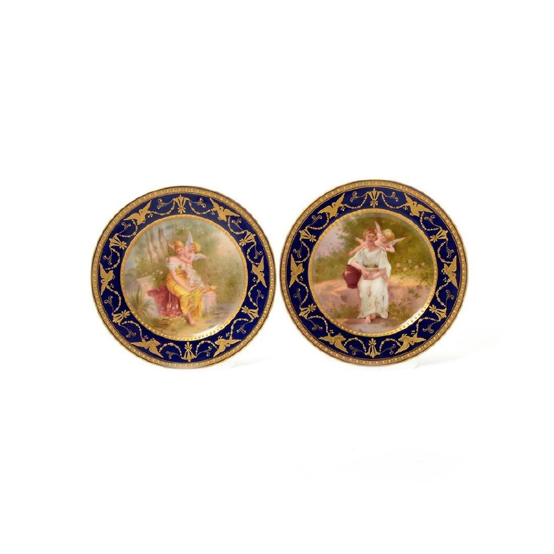 Six Vienna Style Porcelain and Gilt Cabinet Plates