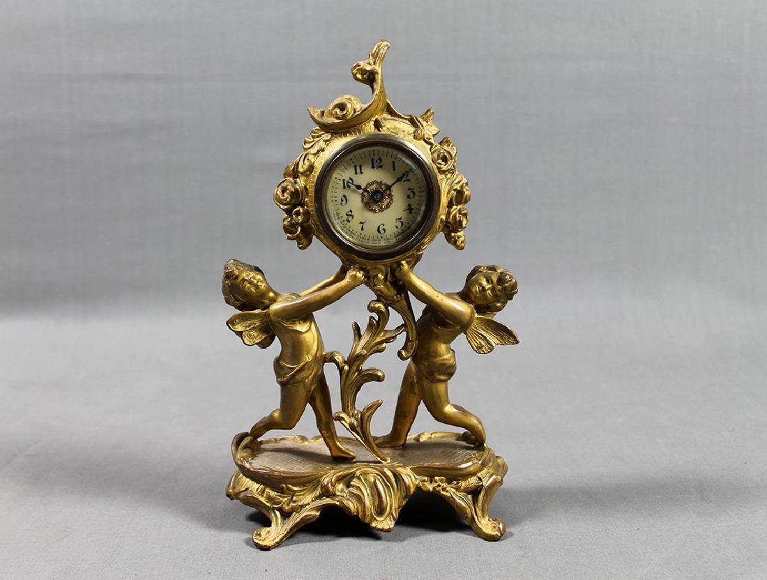 "9"" French Gilt Metal Table Clock in Classical and Art"